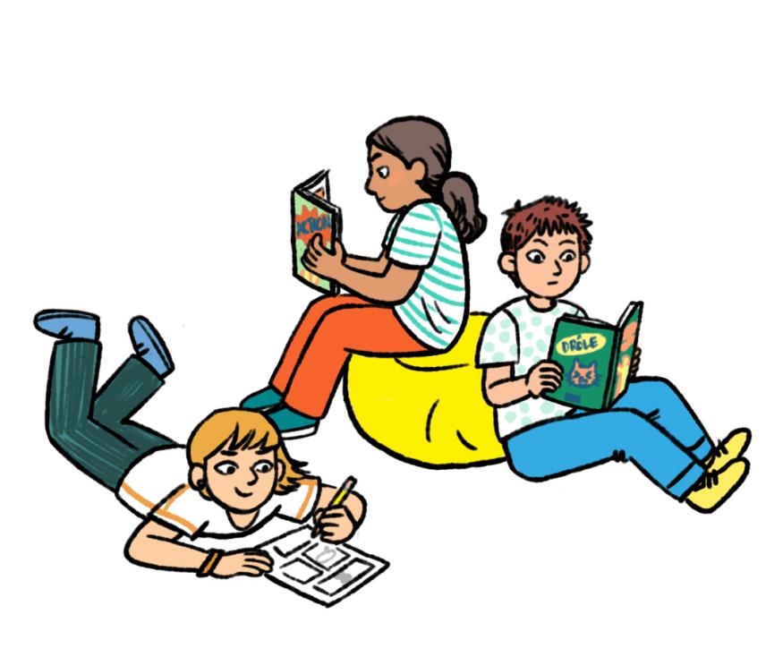 Une illustration jeunesse avec des couleurs vives et des traits de contour noirs où deux enfants lisent des livres et un enfant dessine une page de bande dessinée avec un crayon.